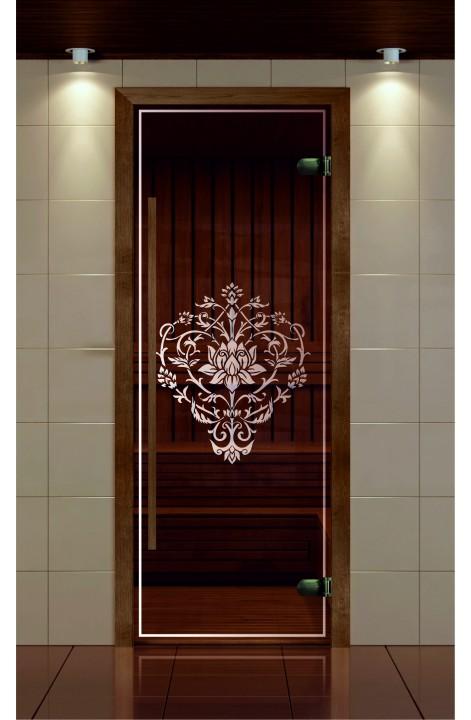 """Дверь для сауны, серия """"Премиум"""", коробка термобук стекло с рисунком Лотос"""