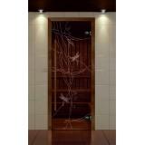 """Дверь для сауны, серия """"Премиум"""", коробка термобук стекло с рисунком Стрекоза"""