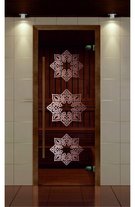 """Дверь для сауны, серия """"Премиум"""", коробка термобук стекло с рисунком Жасмин"""
