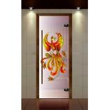 """Дверь для сауны, серия """"Премиум"""", стекло сатин контурная фотопечать жарптица"""