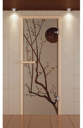 """Дверь для сауны стандарт, серия """"Сакура"""", с фьюзингом, стекло бронзовое"""