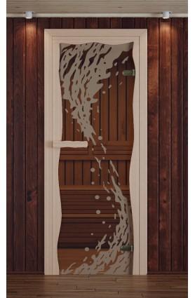 """Дверь для сауны, модель """"Круиз"""", серия """"Волна"""", с фьюзингом"""