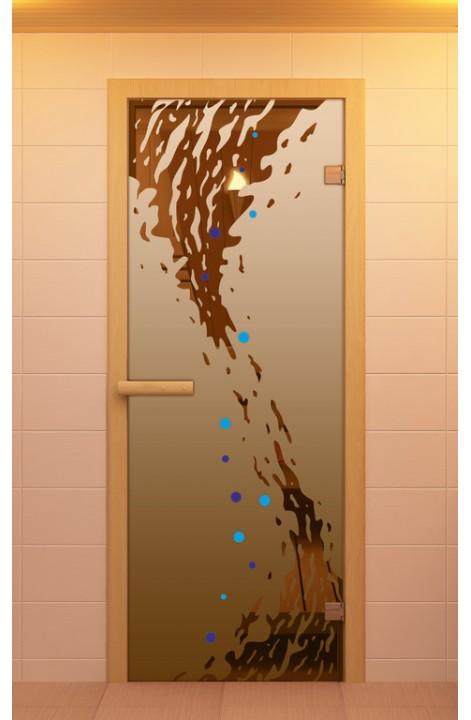 """Дверь для сауны стандарт, серия """"Волна"""", с фьюзингом, стекло бронзовое"""